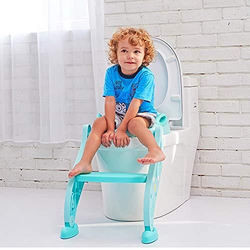 Kinderladder Toiletbril Toilet Training Zitladder Met Stevige Antislip Brede Opstap Voor Meisjes Opvouwbaar En Pedaal In Hoogte Verstelbaar Met Opstapje Potje Stoel Met,Blue