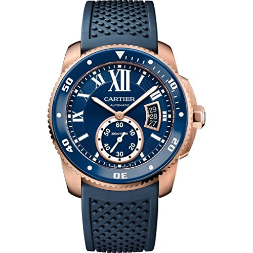 Cartier Calibre de Cartier Diver Blue Dial Solid 18k Rose Gold Men's Watch WGCA0010