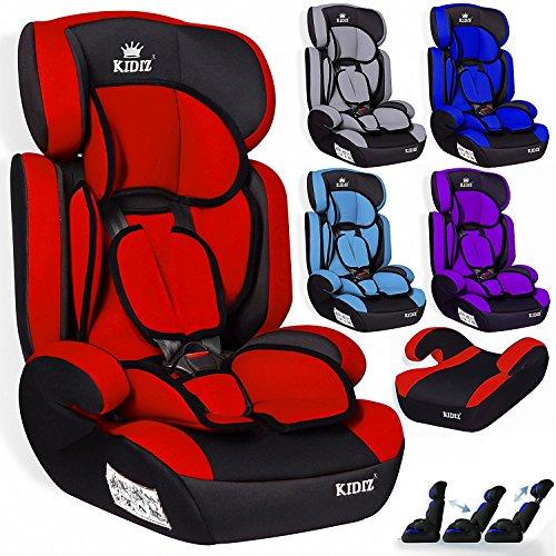 Kidiz® Autokindersitz Autositz Kinderautositz 9-36 kg Gruppe 1+2+3 Kindersitz (Rot)