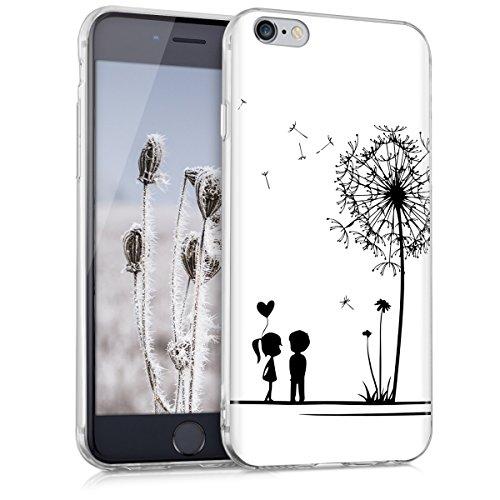 kwmobile Funda Compatible con Apple iPhone 6 / 6S - Carcasa de TPU y niños y Diente león en Negro/Blanco