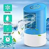 Climatiseur Portable,Mini Personnel Air Refroidisseur Humidificateur Ventilateur,4 en 1 Refroidisseur d'air Climatisation Mobile Avec LED-7 couleur Lumière ambiante (bleu-A)