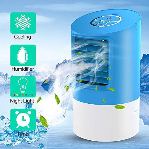 Aire acondicionado portátil, mini ventilador de aire acondicionado portátil 4 en 1, refrigerador de aire acondicionado móvil con LED 7 colores luz ambiente