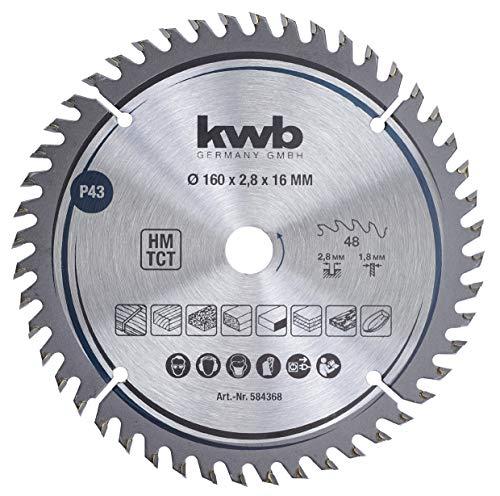 kwb 584368 - Hoja de sierra circular para carpintero (160 x 16 mm, 48 dientes Z-48, hoja fina de precisión, 160 x 16 mm)