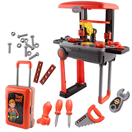 deAO 2-in-1 Deluxe Portable Tool Work Bench Suitcase Play Set with Tool Accessories Included