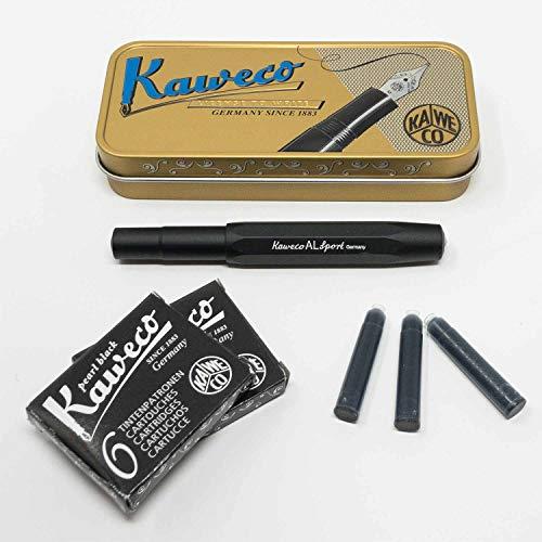 Kaweco Al Sport Füllhalter für Patronen aus Aluminium schwarz achteckig   Füllhalter mit Feder M   Kaweco Set mit Füller Patronen   12 Patronen mit Kaweco Tinte in Schwarz GRATIS