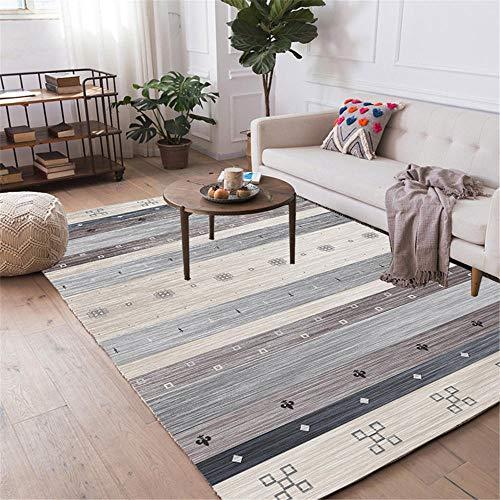 DJHWWD Vloerkleed met wateropname, zachte eetkamermat, eenvoudig, geometrisch gestreepte grijze patroon, anti-vuil, woonkamer, tapijt, antislip, onderhoudsvriendelijk tapijt