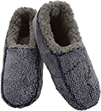 Snoozies Mens Two Tone Fleece Lined Slippers | Comfortable Slippers for Men | Fuzzy Mens Slipper Socks | Soft Sole Mens House Slippers | Navy | X-Large