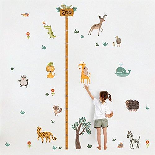 Medidor altura niños pegatina pared puerta vinilo decorativo animales zoo para cuartos bebes niños juegos guarderias colegios de CHIPYHOME
