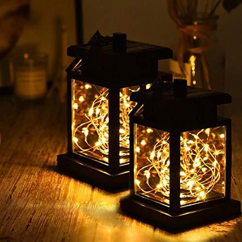 PLC020 Lanterna Solare LED Catena Di Luci Per Esterni Auto Lampada Da Giardino Lampada A Sospensione Per Decorazione Giardino Party, Vacanze Di Natale, Decorazione Matrimonio (2 Pacchetti)