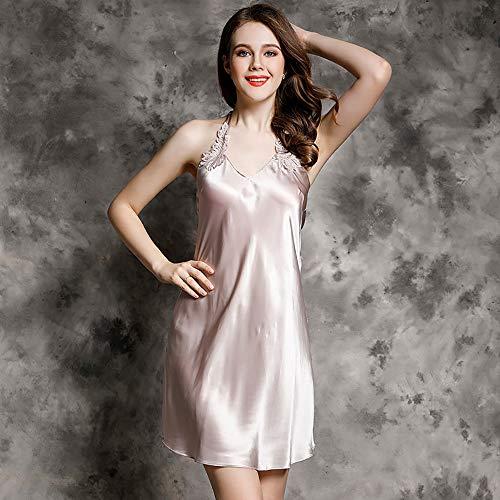 LK-HOME Damen Seidennachthemd, 100% Silk Slip Kleid Mit Spitze, Nachthemd Für Damen, Bequemes Kurzes Hemd Für Damen, Sexy Nachtwäsche,B,L
