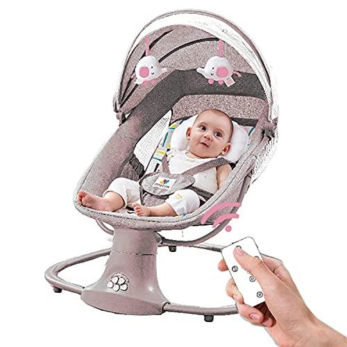 Sdraiette e dondolini Baby Swing Baby Rocker Altoparlante musicale portatile motorizzato Bluetooth Swing con 5 marce Sway Motions Preset Ninne nanne Telecomando (Caffè Rosa)