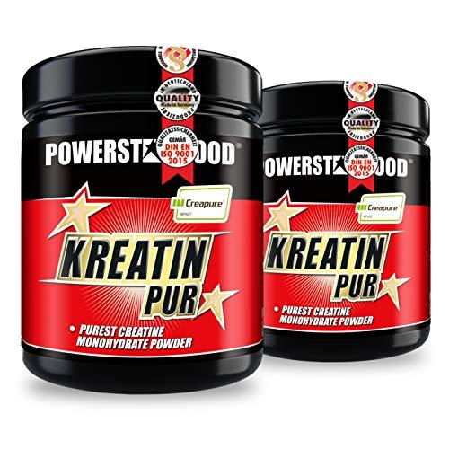 CREAPURE KREATIN PUR 2 Dosen, reinstes Monohydrat Pulver - höchster Qualitätsstufe Creapure®, Muskelbooster für mehr Maximalpower, Ausdauer und erhöhter Muskelwachstum-Reiz - Vegan (Pack/2 Dosen)