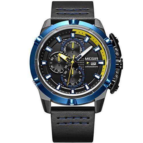MEGIR Orologio da polso da uomo, di lusso, cinturino in pelle, quadrante blu, militare, cronografo, calendario impermeabile e luminoso