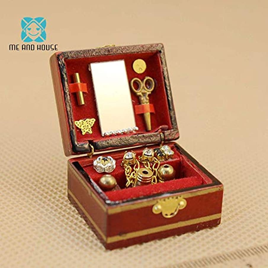 Kiartten 1:12 Scale Accessories - Mini Doll House Miniature Wooden Lady's Filled Special Jewellery Box Vanity 1 Pcs - Miniature Wooden Signs - Miniature Wooden Table