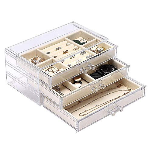 WYBFZTT-188 Jewelry Box-Section Jewelry Organizer Box with Lock Portable Jewelry Storage Case for Women Girls Earring Ring Necklace Holder (Color : B)