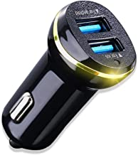 USB Car Charger - 3.1A Max Fast Charger Dual USB Port Car Charger Adapter Input DC 12-24V for All Phone and pad (Black)