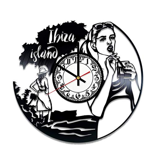 Ibiza Island Spanien Party Beach Vinyl Wanduhr, Vinyl Schallplatte Handmade Art Decor für Home Room Kitchen, Vintage Original Geschenk für jeden Anlass, Partyzubehör...