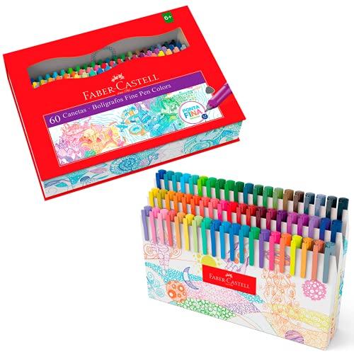 Caneta Ponta Fina, Faber-Castell, Fine Pen,FPB/ES60ZF, 60 cores, Multicor