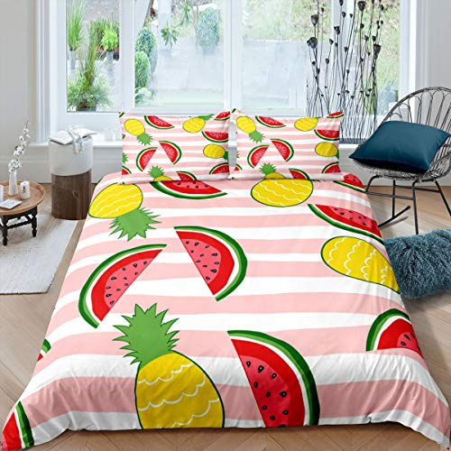 Girls Watermelon Bedding Set for Kids Children Pineapple Comforter Cover Tropical Fresh Fruit Print Duvet Cover Room Decor Colorful Pink Stripe Bedspread Cover Single Size Bedding Collection 2Pcs