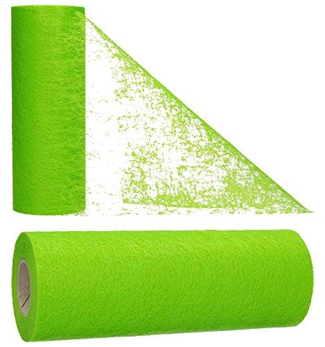 AmaCasa - Corridore da tavolo in tessuto non tessuto verde, ideale per fiori, matrimoni e comunioni, 23cm/20m (verde, 23cm)