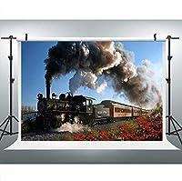 HD蒸気鉄道写真の背景7x5FTレトロな鉄道エンジンの背景写真ブーススタジオ小道具LYLU680