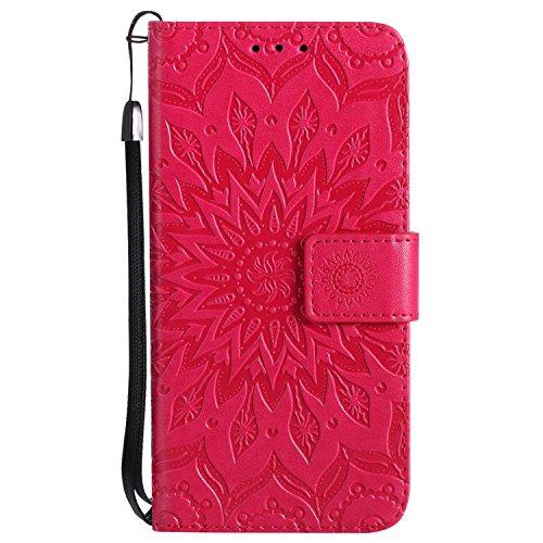 Coque iPhone X/iPhone XS, SONWO Premium PU Cuir Rabat Portefeuille Étui, Gaufrage Chat Arbre Housse avec Fentes de la Carte pour Apple iPhone X/iPhone XS, Rouge