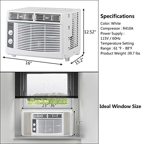 ROVSUN 5000 BTU Window Air Conditioner, Energy Saving AC Unit with Mechanical Controls, Ideal for Rooms up to 150 Square Feet, 110V/60Hz, White
