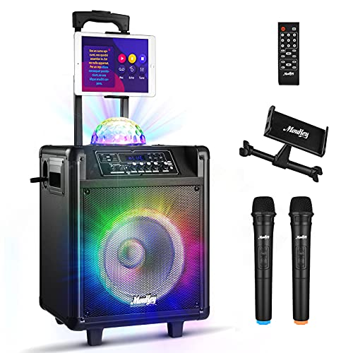 """Moukey Karaoke Machine for Adults,Peak Power 540W Bluetooth 5.0 Portable System PA Stereo with 10"""" Subwoofer,Colorful Lights,Rechargeable Battery,2 Wireless Microphones, Recording,MP3/USB/SD-MTs10-4"""