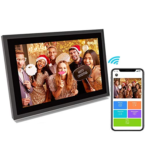 Digital Picture Frame WiFi 10 inch IPS Touch Screen HD Display, Digital Cloud Photo Frame 16GB Storage Auto-Rotate Smart Electronic Picture Frame Wireless Share Photos & Videos via App/Email Instantly Digital Frames Picture
