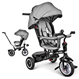 besrey Baby Tricycle 7 in 1 Kid Push Trike Stroller Bike with Parent Handle Rear Facing Rubber Wheel Boy Girl Toy 9 M - 6 Years