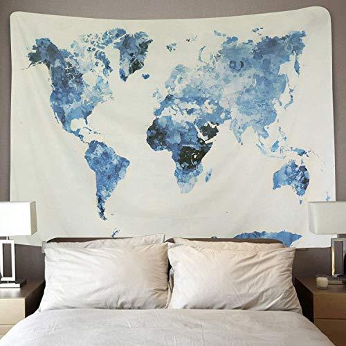 Amkun Mapa del mundo vintage Tapestry Wall Hanging Mandala Bohemian Tapestry pared retro arte tela Home Decor toalla de playa alfombra de yoga azul 51 'x59'