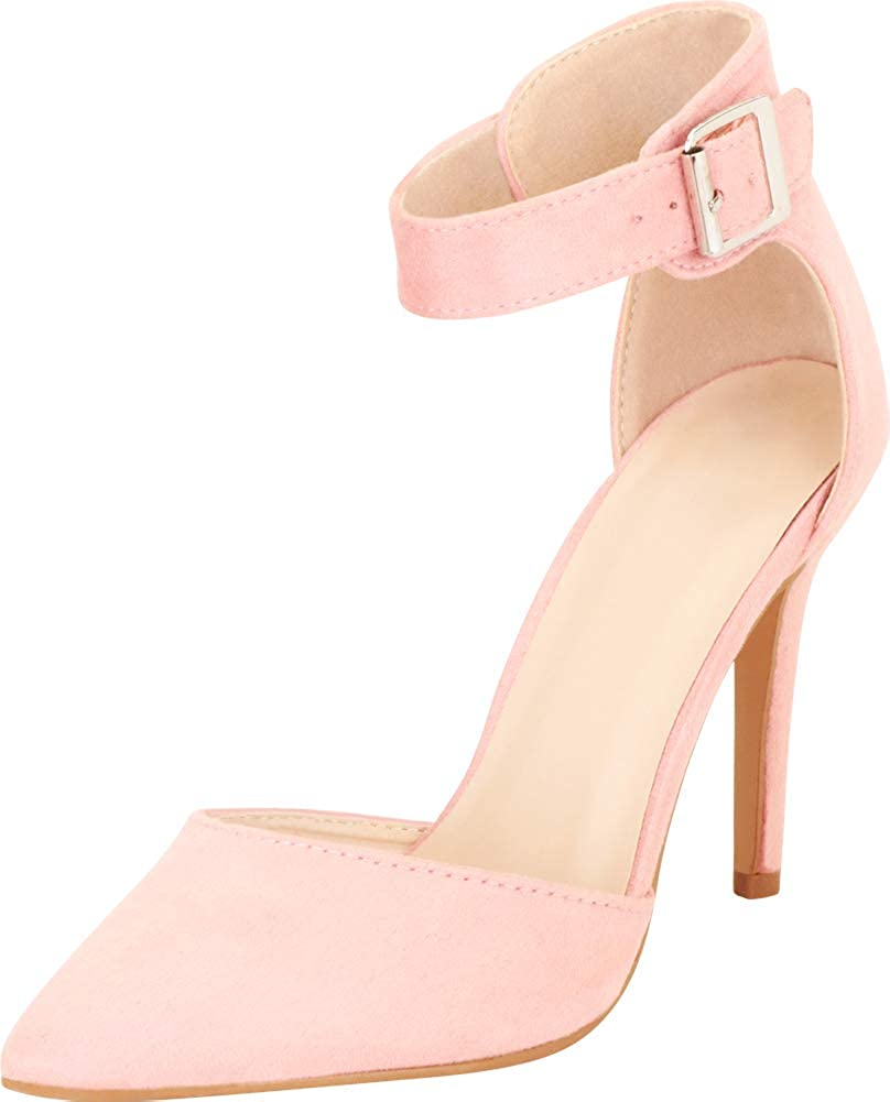 Cambridge Select Womens DOrsay Closed Pointed Toe Buckled Ankle Strap Stiletto High Heel Pump