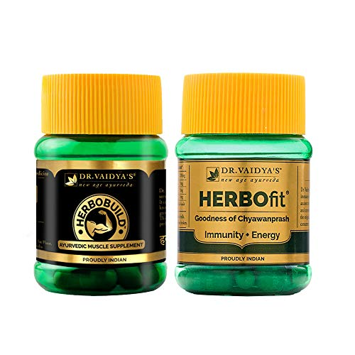 DR. VAIDYA'S new age ayurveda Fitness Pack | Muscle Gain, Energy and Immunity Boost | Herbobuild (30 capsules), Herbofit (30 capsules)