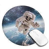 丸型マウスパッド ゲーミングマウスパッド 宇宙飛行士 おしゃれ オフィス自宅兼用 滑り止めゴム底 耐洗い表面 厚地 精密度アップ 光学式マウス対応 20*20cm 厚さ3mm