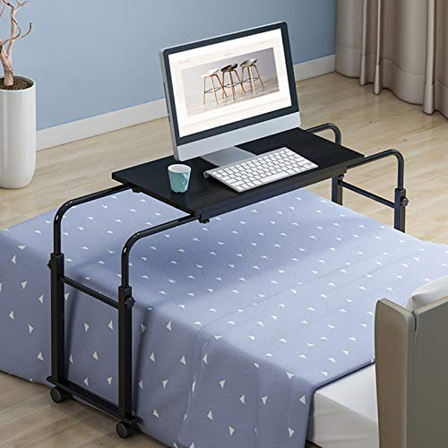 WSJIANP Laptop Bed Table,Large PC Laptop Table With Rolling Wheels,Adjustable Height Lap Standing Desk With Tiltable Tabletop,Computer Desk
