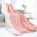 Electric Heated Blanket Twin Size 62'x 84' Flannel & Sherpa Reversible Blanket for Full Body with 10 Hours Auto Off & 4 Heat Settings, Fast Heating and Machine Washable, Home Office Use-Pink