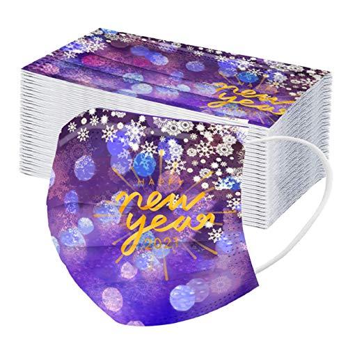 50 Stück Damen Herren Mundschutz mit Motiv 2021 Neujahr Muster Bunt MNS Mund und Nasenschutz Feuerwerk Druck Maske Tücher Atmungsaktiv Mund-Tuch Bandana Halstuch Schals