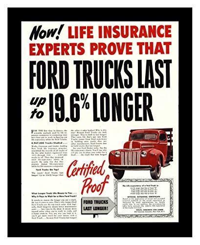 8 x 10 Framed Print Ford Truck Last Longer Vintage Old Advertising Campaign Ads