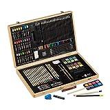 Relaxdays Maletín de Pintor, Juego de Dibujo XXL, lápices de Colores y Acuarelas, lápices de Colores, Tiza Pastel, maletín de Madera, Natural, 1 Unidad