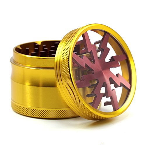"4 Piece 2.5"" Aluminum Lightning Pattern Clear Top Herb Grinder (Gold-Red)"