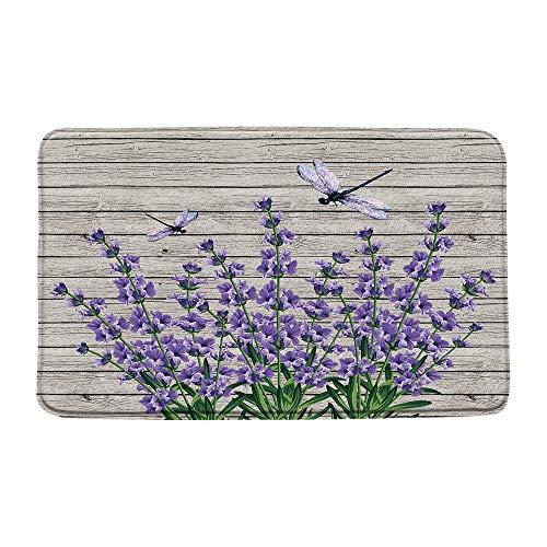 Microfiber Memory Foam,Lavender Dragonfly Purple Flower on Vintage Wooden Rustic Idyllic Nature,Soft Bathroom Living Room Bedroom Mat/Bath Rugs-20x 31 Inch/50x 80cm,Purple
