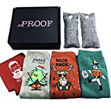 Mens Funny Christmas Socks 3-Pack with Charcoal Air Purifier Bags (Size 8-13)