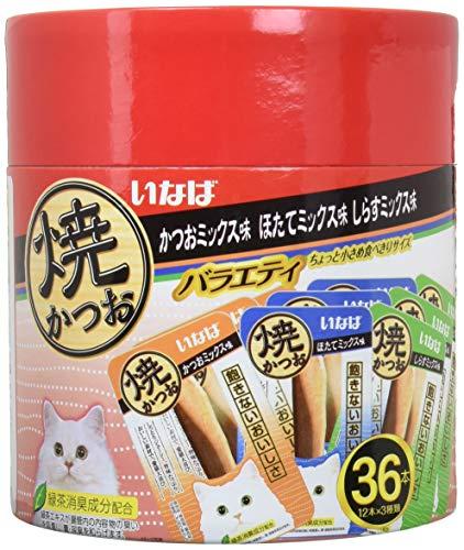 [Amazon限定ブランド] いなば 猫用おやつ 焼かつお 成猫用 バラエティ 36本入