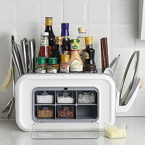 GRX-ZNLJT Kruidenrek in ladestijl, Voor keukenkasten, Keukenorganizer, Vrijstaande keukenplanken, PP milieubeschermingsmaterialen, Voor kruidenpotten, Keukenorganizer voor flessen en blikjes