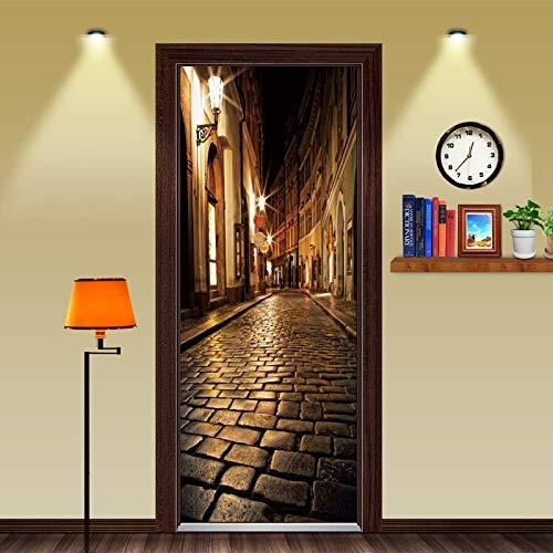BLOUR Holztüren renovieren Tür Aufkleber Nacht Straße Selbstklebende dekorative wasserdichte Wandtattoo Wandtapete an der Tür