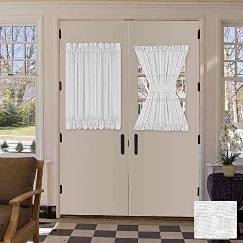 White Curtains for French Door, Elegant Linen Blended Privacy Protection Semi Sheer Curtain, Multi Size 52x40 - Inch/Rod Pocket Top Window Curtain Panel (Set of 1)