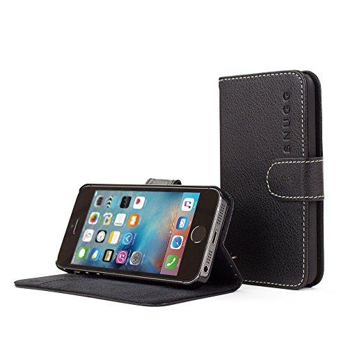 Snugg - Custodia a libro per Apple iPhone 5C, in pelle, con scomparti per carte di credito, colore: Nero