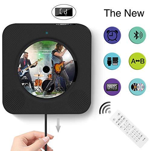 CD-Player Wandmontage Bluetooth-Lautsprecher Fieber-Musik-Player, Heimkinder mit LED-Display im Ruhemodus unterstützt FM/ MP3/ USB/ 3, 5 mm Schwarze Kopfhörerbuchse