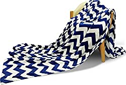 Fleece Throw Blanket with Chevron Print