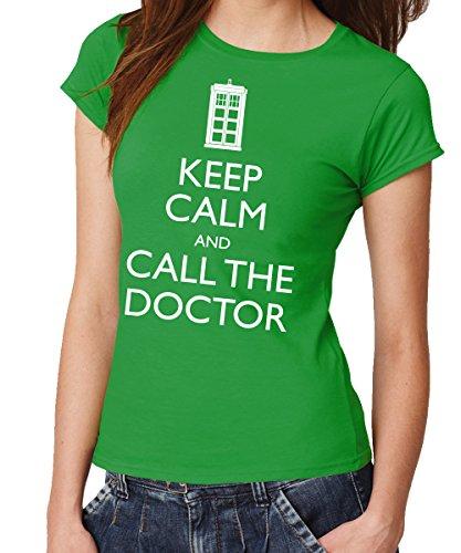 clothinx Damen T-Shirt Fit Keep Calm and Call The Doctor Grün Gr. S
